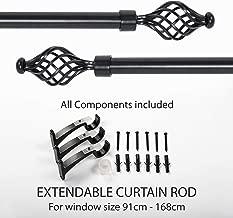 "Deco Essential Swirl Iron 36""-66"" Extendable Curtain Rod-Black Matt"