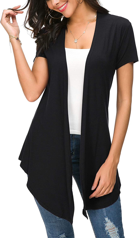 Urban CoCo Womens Open Front Short Sleeve Cardigans for Women Lightweight Summer Drape Cardigan Vest