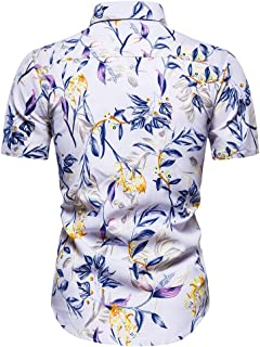 Men Summer Shirt Tops, Male Floral Printed Button T-shirt Blouse Tunic Top