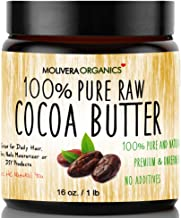 Cocoa Butter - Molivera Organics Raw Organic 100% Pure Raw Premium Grade A Natural Cocoa Butter 16 oz. - Best for DIY Lip Balm, Sticks, Face, Skin, Hair and Stretch Marks