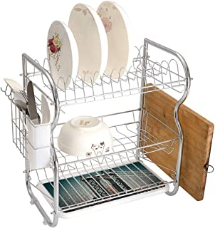 Stainless Steel 3-Tier Dish Drainer Rack Scenery Kitchen Drying Drip Tray Cutlery Holder Cityscape Landscape View with Bridge Empire State Building and Skyscrapes Picture Print,Grey and Ginger,Storage