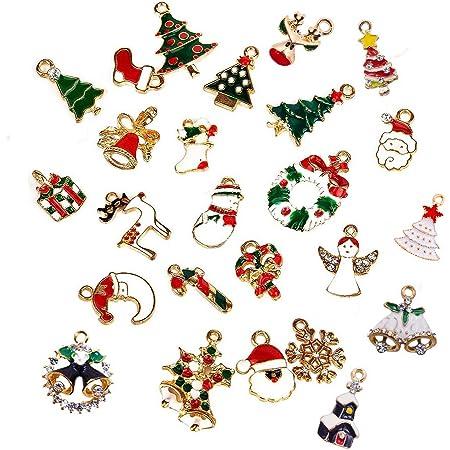 Reyok 25 Stück Weihnachtsanhänger Christbaum Deko Weihnachtsbaumschmuck Schmuck Sets Weihnachten Halskette Armband Ohrringe Anhänger Christmas Jewelry Set Damen Mädchen Küche Haushalt