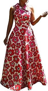 VERWIN Lapel Floor-Length Sleeveless Floral Women's Maxi Dress Print Evening Party Long Dress