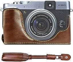 First2savvv XJPT-X20-D10 dark Brown Leather Half Camera Case Bag Cover base for Fuji FujiFilm Finepix X20.X10 + dark Brown camera strap