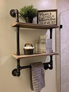 Industrial Pipe Bathroom Shelves Wall Mounted 2-shelf,Rustic Pipe Shelving Wood Shelf With Towel Bar,Pipe Floating Shelves...