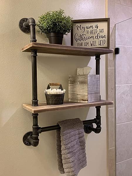 Industrial Pipe Bathroom Shelves Wall Mounted 2 Shelf Rustic Pipe Shelving Wood Shelf With Towel Bar Pipe Floating Shelves Towel Holder