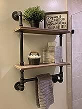 Industrial Pipe Bathroom Shelves Wall Mounted 2-shelf,Rustic Pipe Shelving Wood Shelf With Towel Bar,Pipe Floating Shelves Towel Holder