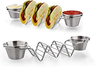2PCS Taco Shell Stand Up Holders,Stainless Steel Taco Holder with Salad Cups,Holds 3 Tacos Each Keeping Shells Upright and...