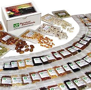 Survival Essentials' Premium 135 Variety Heirloom Seed Bank: 23,335+ Non-Hybrid, Non-GMO Heirloom Seeds.Veggies, Fruits, M...