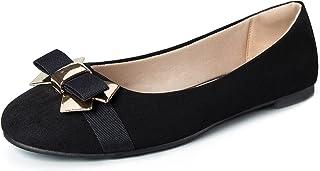 WFL جولة اصبع القدم النساء شقق الانزلاق على أحذية الباليه المسطحة لينة, (Black Square Buckle), 37 EU