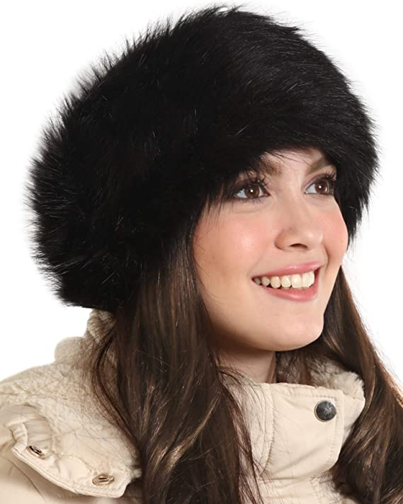 Womens Faux Fur Headband - Winter Furry Earwarmer Earmuffs - Fluffy Cold Weather Ear Covering Russian Headbands