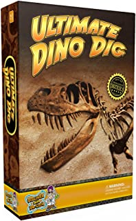 ULTIMATE DINO DIG Science Kit - Dig Up 3 Real Dinosaur Fossils and Assemble a Tyrannosaurus Rex Skeleton Model