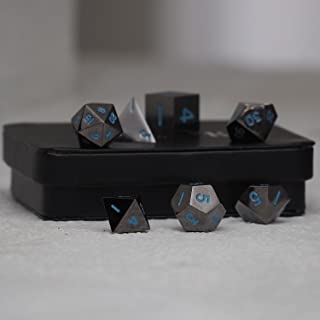 Powder Blue Gun Metal Polyhedral Dice Set   7 Piece   Professional Edition   FREE Display Case   Hand Checked Quality Control
