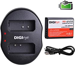 LP-E10 LPE10 E10 DIGIeye Battery (1-Pack) and Rapid USB Dual Charger for Canon Replacement LP-E10 and Canon EOS Rebel T3, T5, T6, Kiss X50, Kiss X70, EOS 1100D, EOS 1200D, EOS 1300D