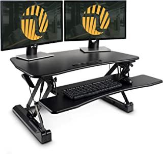 Standing Desk Converter with Height Adjustable – FEZIBO Black 36 inches Stand Up Converter Sit to Stand Dual Monitor Tabletop Riser