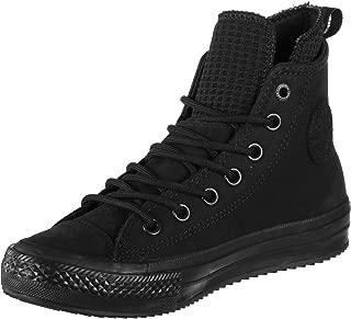 Womens Chuck Taylor All Star Waterproof Leather High Top Black/Black/Black Sneaker (6 M)