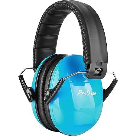 ProCase Casque Anti Bruit Enfant, Casque Pliable Réglable Confortable, avec Une Atténuation de SNR 34dB, Serre-tête Souple pour Milieu Bruyant ou Stressant-Bleu