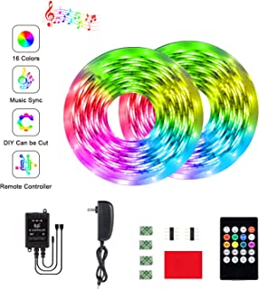 BINKBANG Led Strip Lights RGB Strip 32.8Ft/10M Flexible Rope Lights 300 LEDs SMD 3528 Music Sync Color Changing Tape Lights with 20 Keys IR Remote for Home, Bedroom, TV, Kitchen, Desk, Bar Decoration