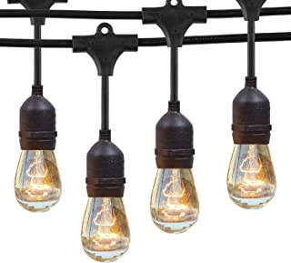 NIOSTA Waterproof Outdoor Patio String Lights, 48Ft with 16 Hanging Vintage 11W Edison Bulbs,Commercial String Lights for Bistro, Backyard, Party Tent -Blk