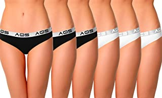 aqs Ladies Full Bottom Cotton - Black + White - 6 Pack