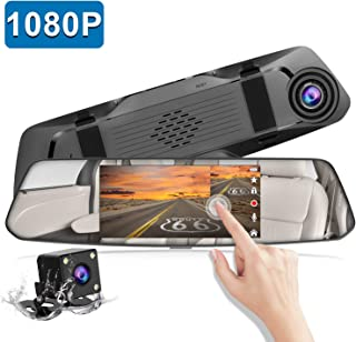 Backup Camera 5 Mirror Dash Cam Touch Screen Full HD 1080P CHORTAU Dual Dash Cam Front and Rear with Waterproof Rear View Camera with Loop Recording and Parking Monitor