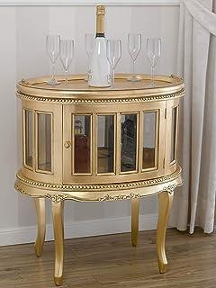 SIMONE GUARRACINO LUXURY DESIGN Table Basse Coloniale Ovale vitrine Bar casier Porte-Bouteilles Style Baroque Français Feu...