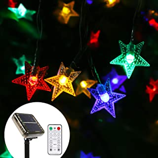 Solar Star String Lights with Remote Control,39.4 FT 100LED Solar Powered Outdoor Fairy Lights 8 Modes Waterproof Decorative Light for Garden Patio Yard Wedding Party (Multi-Colored)