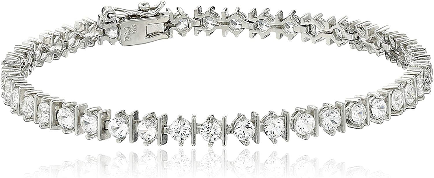 .925 Sterling Silver Created White Bracelet Choice Link Daily bargain sale Tennis Sapphire