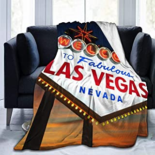 Extra Soft Sherpa Flannel Fleece Throw Wrap Cover Robe for Lounge Couch Reading Watching TV, Oversized Throw Wearable Blankets (Welcome to The Las Vegas Sign, Kid 50