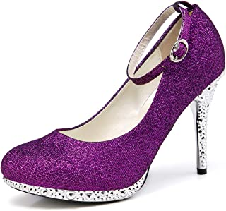 getmorebeauty Womens Glitter Closed Toes Ankle Strappy Dress High Heel Wedding Shoes