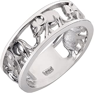 Sterling Silver Elephant Family Migration Ring 925 (Color Options, Sizes 4-15)