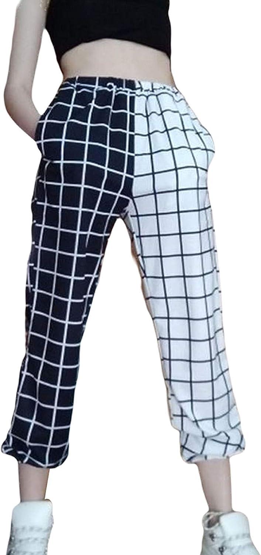 Women Vintage Plaid Patchwork Pants Harajuku High Waist Trousers Casual Elastics Straight Checkerboard Print Pants