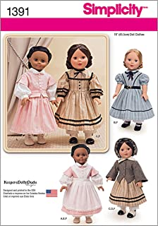 Simplicity 1391 Historical Civil War Doll Clothing Sewing Patterns, 18'' Dolls