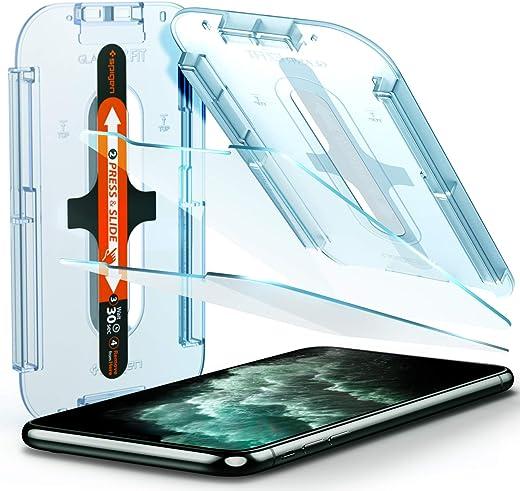 واقي شاشة سبيجن من الزجاج المقوى لهاتف ايفون اكس اس ماكس مصمم للحماية القصوى مجموعة من قطعتين