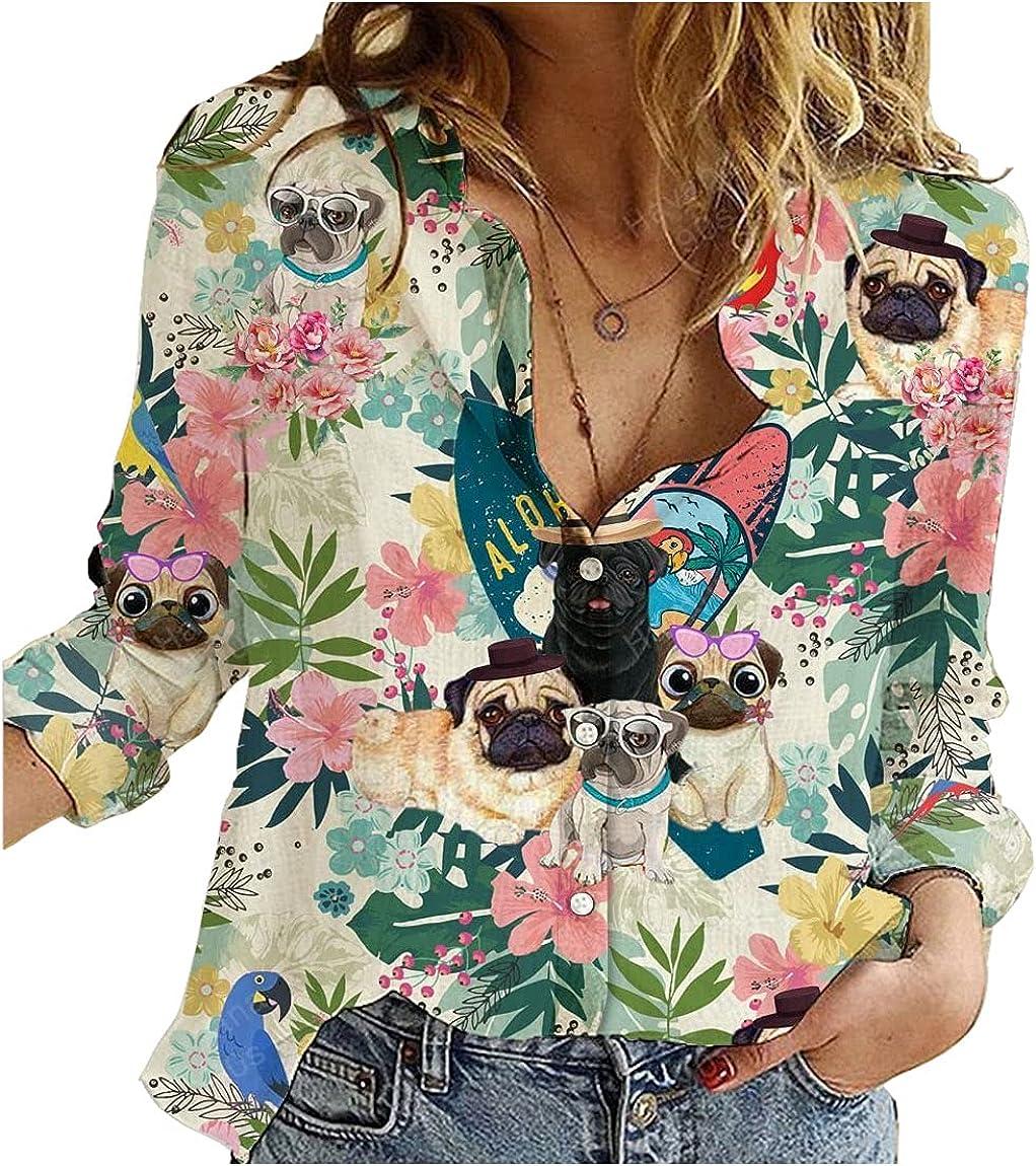 Pug Hawaiian Shirt Hawaii Floral Womens Long Sleeve Button Down Cotton Linen Shirt Blouse Loose Fit Casual V-Neck Tops Full Size