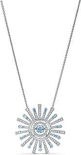 SWAROVSKI Women's Sunshine Necklace, Blue, Rhodium plated