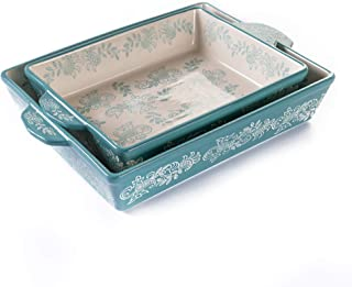 Oven to Table Casserole Dish Set - 100% Stoneware Ceramic Baking Dishes for Cooking & Serving, Lasagna Pan Bakeware is Dis...