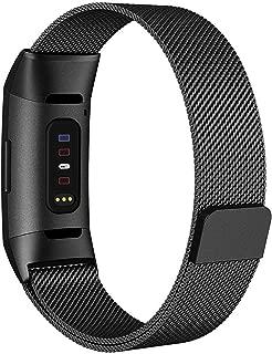 AIGENIU コンパチブル Fitbit Charge3 バンド、マグネット式のあるステンレスミラネーゼループバンド 多色選択Fitbit Charge3/3 SE に対応