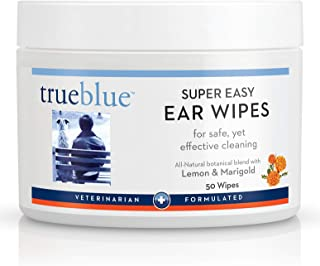 TrueBlue Lemon & Marigold Super Easy Dog Ear Wipes – Pre-Moistened Puppy Pads for Ear Cleaning – Cleansing Ear Wipe for Do...