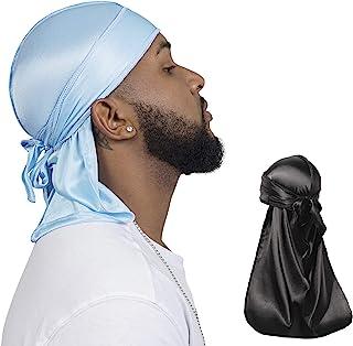 2PCS Elastic Silky durag for Men 360 Waves, Do Rag, Elastic durag, Long-Tail Du-RAG