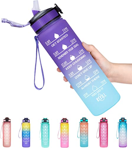Venture Pal 32oz Motivational Fitness Sports Water Bottle with Time Marker & Straw, Large Wide Mouth Leakproof Durabl...