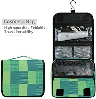 Toiletry Organizer Wash Bag,Seafoam Green Digital Art Portable travel bathroom shower bags Deluxe Large Capacity Waterproof Pouch Kit with Hook for Men and Woman
