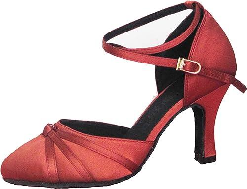 YFF Cadeaux femmes Dance danse danse latine Dance Tango chaussures 7CM,rouge,43