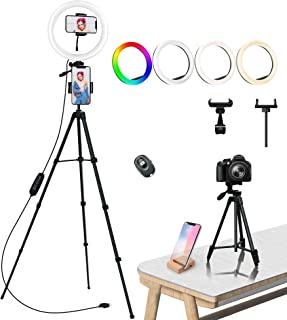 Ring Light, COOLHOOD 18 RGB & 3 Colori Normali Dimmerabile Led Luce Tik Tok, Luce ad Anello con Treppiedi Stand Telefono p...