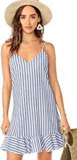 Women's Summer Sleeveless V Neck Stripe A Line Short Dress