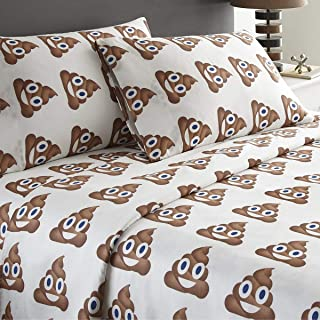 Spirit Linen 4pc Emoji Bed Sheet Sets with Pillow Case Cute and Cozy Giving You A Wonderful Night of Well Rested Sleep (Poop, Queen)