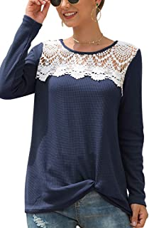 Haloon Women's Crew Neck Long Sleeve Lace Twist Front Waffle Knit T-Shirts Tops
