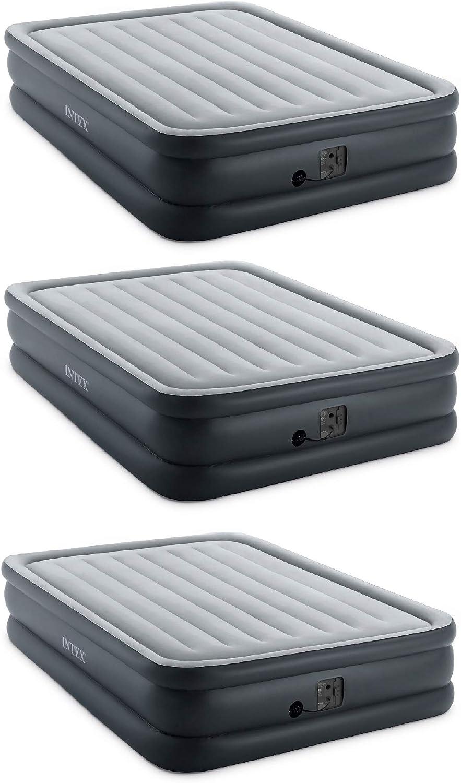 Intex Queen Air Mattress w Built-in Max 70% OFF Gray 3 Pack Pump Max 64% OFF Electric