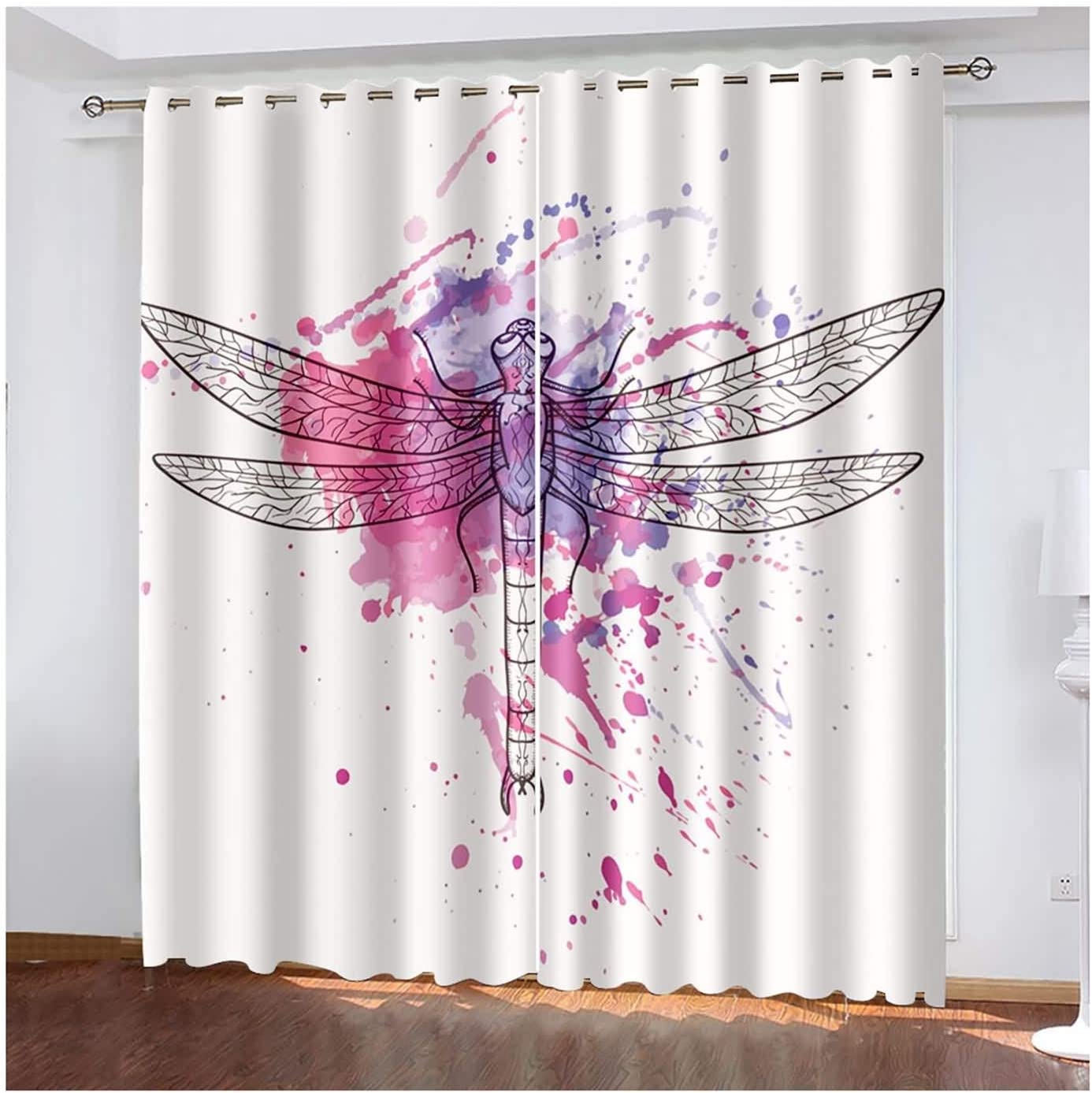 AMDXD safety 2 Animer and price revision Panels Polyester Curtain Bathroom Curtains Bedroom Blac