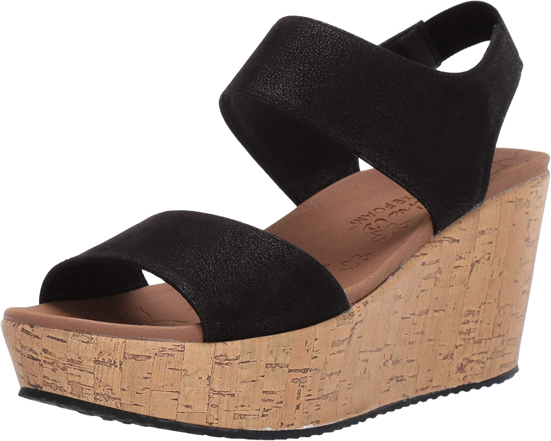Skechers Womens Brit - Tall Tale - High Wedge Quarter Strap Sandal Wedge Sandal